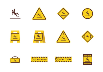 Caution Wet Floor - vector gratuit #385551