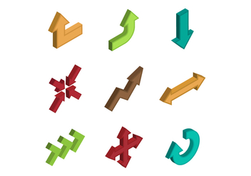 Free Isometric Arrow Vector - Kostenloses vector #385601