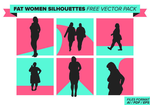 Fat Women Silhouettes Free Vector Pack - бесплатный vector #385611