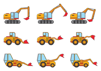Skid Steer Vector Icons - Free vector #385971