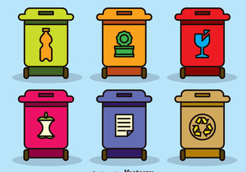 Colorful Recycle Bins Vector - vector gratuit #385991