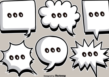 Vector Cartoon White Speech Bubbles - Kostenloses vector #386091