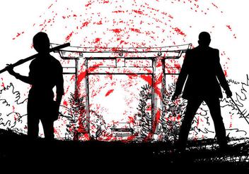 Japanese Yakuza with samurai silhouette - Free vector #386351