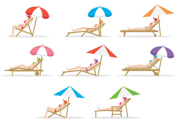 Free Girl Sitting On Deck Chair - vector gratuit #386571