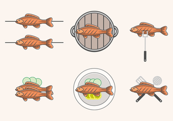 Delicious Fried Fish Vectors - vector gratuit(e) #386811