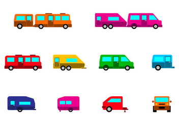 Bright Camper Caravan Icon Vector - бесплатный vector #387411