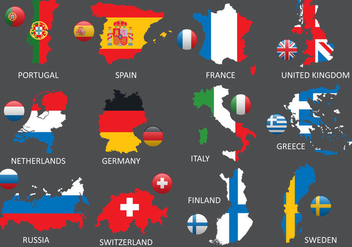 Europe Maps - vector #387501 gratis