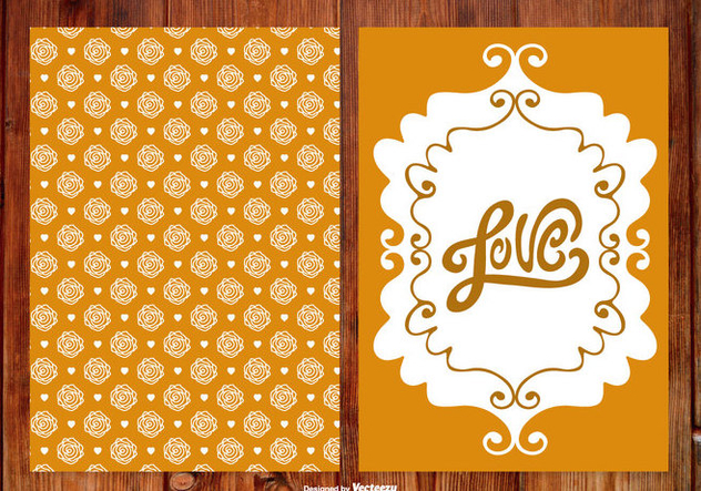 Rose Hand Drawn Wedding Cards - Free vector #387631