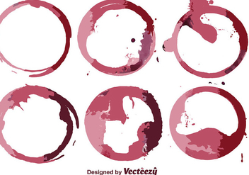 Abstract Wine Stain Vector Set - Free vector #387961