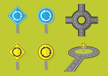 Roundabout Road Vectors - Kostenloses vector #388041