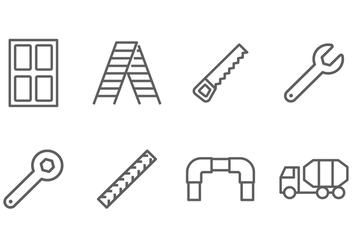 Construction Line Icon Vectors - Free vector #388071