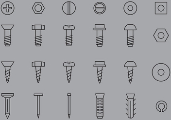 Nail And Screw Icons - vector #388221 gratis