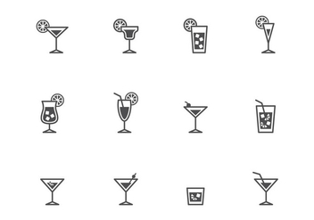 Cocktails Icons - vector gratuit #388411