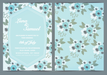 Vector Sky Blue Floral Wedding Invite - Free vector #388461