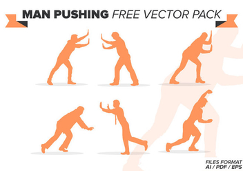 Man Pushing Free Vector Pack - Kostenloses vector #388861