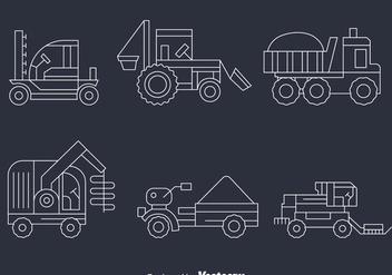 Harvest Tractors Line Vector - Kostenloses vector #389001