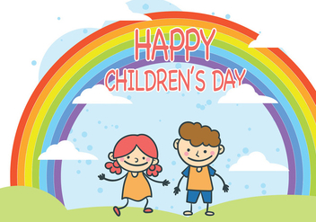 Cute Children's Day Vector - Free vector #389081