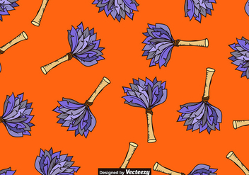 Vector Hand-Drawn Feather Duster Icon SEAMLESS PATTERN - бесплатный vector #389641