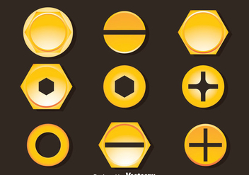 Golden Bolt And Nail Head Vector - vector #390181 gratis