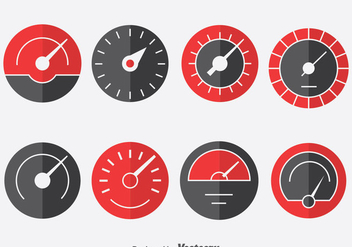 Tachometer Indicator Icons Set - Free vector #390471