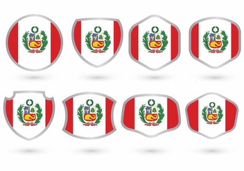 Peru Flag Badge Set - Kostenloses vector #390501
