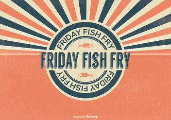 Retro Fish Fry Friday Illustration - бесплатный vector #390511