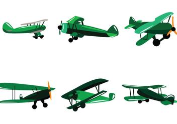 Green Biplane Vector - Kostenloses vector #390631
