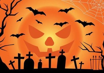 Jack-o-lantern Moon Halloween Landscape - vector gratuit(e) #391011
