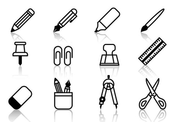 Free Student Stationery Icons Vector - Free vector #391031