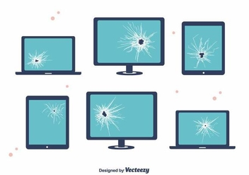 Broken Screen Devices Vector - Free vector #391041