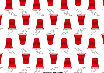 Vector Seamless Pattern Of Beer Pong Game - vector gratuit #391181