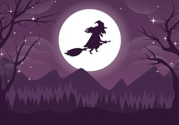 Spooky Witch Halloweeen Vector Illustration - Free vector #391331