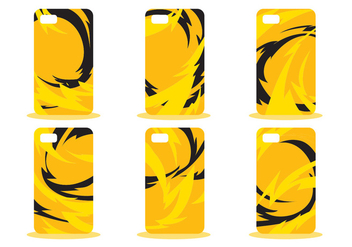 Yellow Abstract Phone Case Pattern Vector Set - vector gratuit #391571