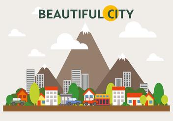 Mountainous Cityscape Vector Illustration - Kostenloses vector #391961