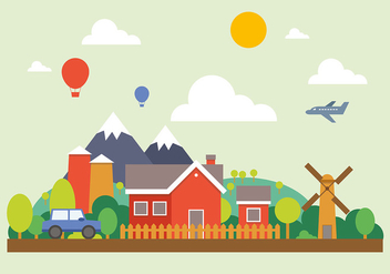 Busy Farm Vector Illustration - Free vector #391971