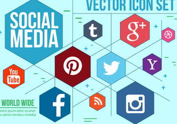 Hexagonal Social Icons Vector - Free vector #392021
