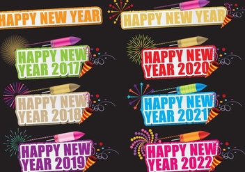 Happy New year Titles - vector #392471 gratis