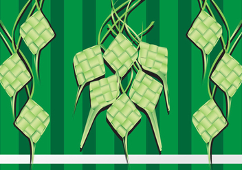 Illustration of Ketupat Rice Dumpling on Green Background - Free vector #392491