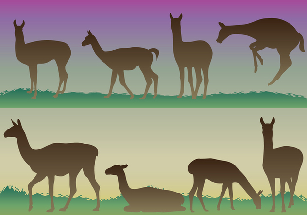 Guanaco Silhouettes - Free vector #392831