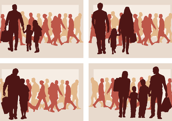 Family Shopping Silhouette - vector gratuit #392881