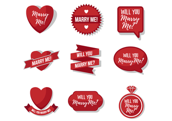 Free Marry Me Sticker Vector - бесплатный vector #393121
