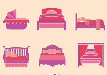 Bed Flat Icons Collection Vector - vector #393291 gratis