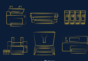 Printer Line Icons - vector gratuit #393351