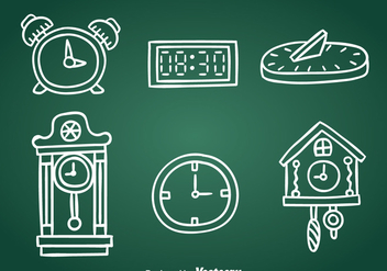 Hand Drawn Clock Collection Vector - Free vector #393401