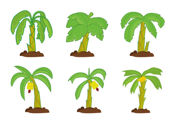 Banana tree vector pack - vector gratuit #393671