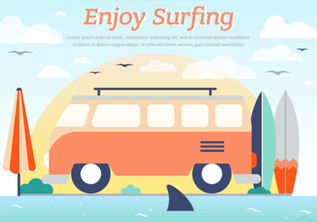 Hippie Bus Surfing Vector Background - Free vector #393741