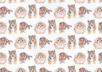 Cute Animal Vector Watercolor Pattern - vector gratuit #393931