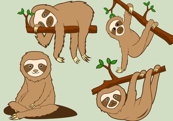 Funny Sloth Pose Illustration - Free vector #394271