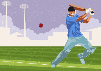 Cricket Player In Playing Action - Kostenloses vector #394831