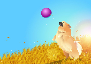 Pomeranian Playing - Free vector #394891